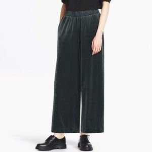 Navy Uniqlo Wide Leg Velvet Pants